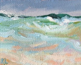 Cold Atlantic  Waves Miniature oil painting, stretched canvas miniature artist Adrienne Kernan LaVallee inspired by the beach Biddeford Pool