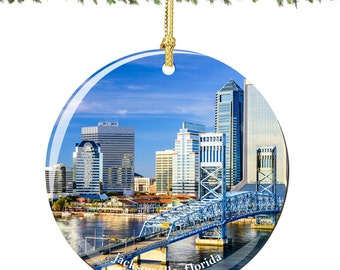 Jacksonville Christmas Ornament of Florida in Porcelain, Double Sided 2.75 Inches
