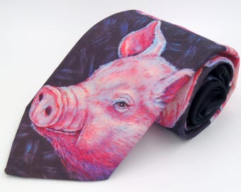 Vintage 1980s Black Novelty Polyester Tie with Pink Pig Pattern by Ralph Marlin