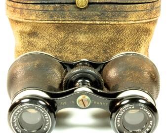 Paris Made Antique John Wanamaker Opera Glasses - Antique Binoculars Leather Case Burgundy Velvet
