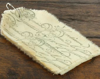 Script  - Muslin Tags Vintage Inspired Hand-Stamped Tea Dyed and Frayed Muslin Tags - Junk Journal - Mixed Media - Tea Stained Muslin Tags