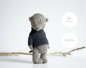 NEW PDF Sewing Pattern For Woman Instant Download Mohair Pattern Teddy Bear In Clothes Making Stuffed Animal Toy 7,5 inches PDF Tutorial