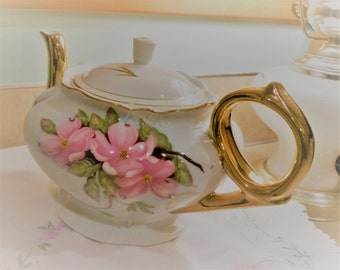 Vintage Lefton China Teapot, 1989, perfect Gold Plate