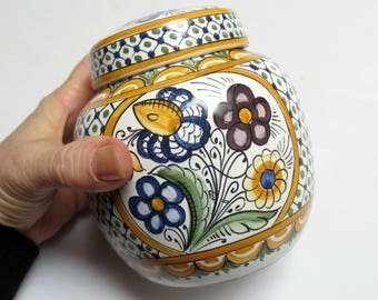 """Hand-Painted Floral Ginger Jar with Lid, Italian or French?, Signed T.K., 4.75"""" Tall, Deruta Style"""