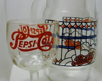 Vintage Pepsi Cola Glass and Pepsi Stained Glass Design Pitcher Pepsi Nostalgia