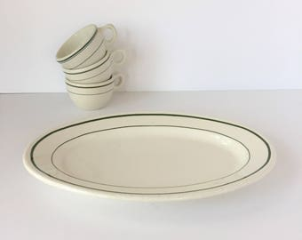 Restaurant Platter, Vintage Diner Platter, Green Stripe Restaurantware, Buffalo China Platter, Hotel China