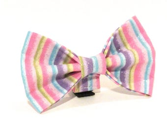 Easter Dog Bowtie, Easter Stripe Dog Bowtie, Easter Doggy Bowtie, Easter Stripe Doggy Bowtie, Easter stripe with Sparkles Dog Bowtie