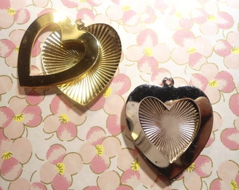 4 Silver and Goldplated 37mm Heart Picture Frames