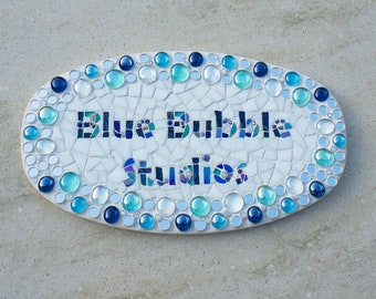Custom Name Plaque, Sign, Mosaic, business name, door sign, oval plaque, Made to Order, OOAK, address,house,door plate,ceramic outdoor sign