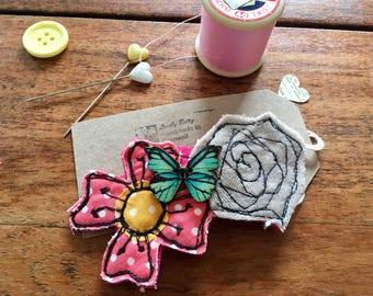 Flower butterfly brooch