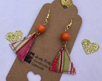 Bright stripey geometric triangle fabric earrings