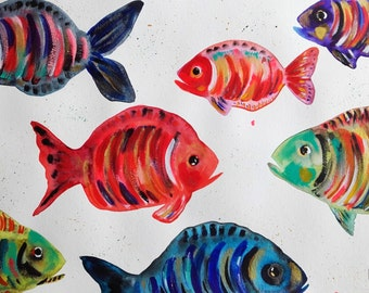 Fish Painting Fish Drawing Fish Wall Art Fish Fine Art - Home Decor Original Painting Nature Decor Art - Fishes Painting Watercolor Fishes