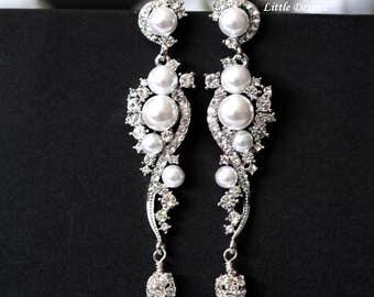 Pearl Crystal Earrings White Pearl Earrings Chandelier Earrings Bridal Earrings Statement Earrings Sparking Wedding Earrings DEW DROPS