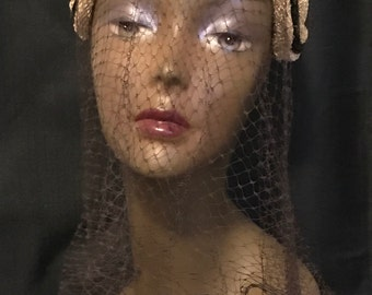 """Vintage Hat with Veil Retro Chic Pill Hat Woven with Brown Velvet Accents """"Sale"""""""
