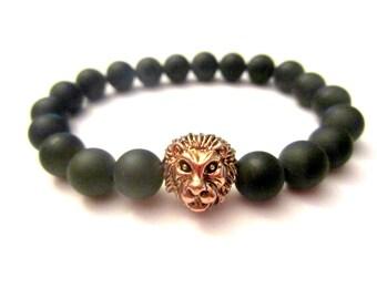 Lion Bracelet. Rose Gold Lion. Onyx Bracelet. Yoga Bracelet. Leo Bracelet. Rose Gold Lion Charm. Wrist Mala. Yoga Bracelet.