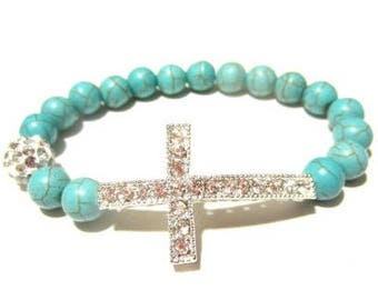 Turquoise Bracelet. Cross Bracelet. Sideways Cross. Side Cross. Cross Bangle. Faith Bracelet. Beaded Bracelet. Cross Jewelry.