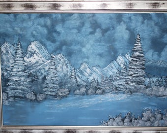 "Winter Wonder-  Large 36""X24"" Original oil painting on canvas board framed"