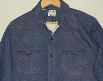 1970s Shirt / L - XL / Denim Shirt / Western Shirt / Cowboy Shirt / Hippie / Rocker / Biker / Work Shirt / Welding / Workwear / Pearl Snap