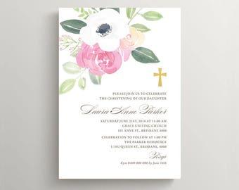Christening Invitation \ Baptism Invitation \ Holy Communion \ Girl Invitation \ Printable Invitation \ Watercolour (CR50)