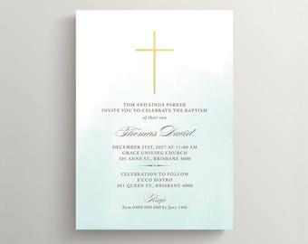 Printable Baptism Invitation \ Baptism Invite \ Christening Invitation \ Mint and Gold (CH53)