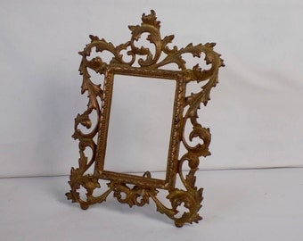 Antique Victorian Brass Picture Frame Rococo Edwardian Decor Collectible Ornate Easel Back Tabletop Office Desk Vanity Boudoir Display