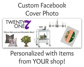 Custom Facebook Cover Photo, Personalized Just For You With Your Own Theme or Items From Your Shop! Custom Made Facebook Cover Photo, OOAK