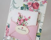 Sympathy Condolences Grieving Hankie Card Vintage Embroidered Handkerchief Roses Anna Griffin Friend I'm Sorry For Your Loss