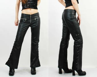 90s Leather Pants / Lace Sided Pants / Black Leather Pants / Biker Pants / XL Leather Pants / Hard Leather Stuff / Rocker Pants / Moto Pants