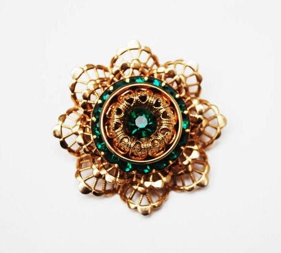 Green Rhinestone Floral Brooch - Gold Filigree - mid century - flower Atomic pin