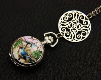 Necklace Pocket watch two birds 2222m