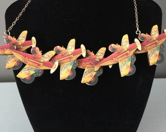 Let's go flying! Wooden Necklace