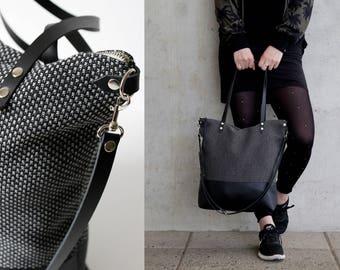 tote bag, cross body bags, black gray fabric, leather strap handmade shoulder bags, womens handbag