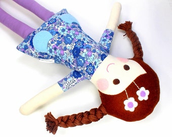 fabric rag doll | camille doll for girl |  flower doll | handmade doll |  soft toy  | cloth doll