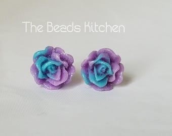 SALE Blue Purple Rose Glitter Post Stud Earrings - Hypoallergenic - Nickel Safe - Handmade Jewelry - Beauty Beast Cosplay