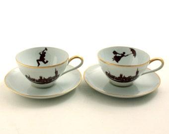 Set 2 Mary Poppins Bert Cups Nanny Coffee Tea Porcelain Vintage Redesigned Andrews Musical Film Big Ben London England Valentine Anniversary