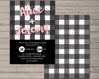 Printable Party Invitation PDF - Gingham Engagement