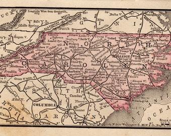 Uncommon NORTH CAROLINA Map of North Carolina State Map Gallery Wall Art Vintage 1888  MINIATURE Map of North Carolina 7221