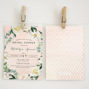 Watercolor Boho Bridal Shower Or Baby Invitation Floral Invite Chic Envelope Liner