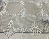 Bridal Lace, Beaded lace with silver cording, Beaded lace