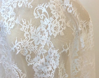 Chantilly Lace Fabric, Lace, Light Ivory Lace, Bridal Lace,  Lace Fabric (C7)