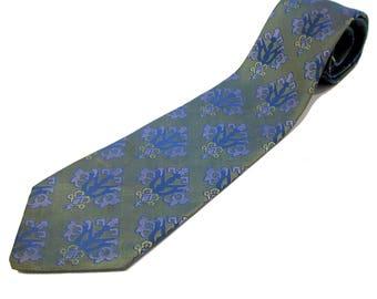 Blue Iridescent Tie, Green Jacquard Tie, Vintage Wembley Tie, Retro 70s Tie, Mad Men Tie