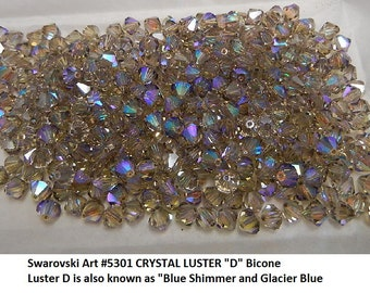 """24+ Swarovski CLEAR AB and LUSTER """"D"""" Blend 6mm Bicones, Article 5301, New in Package"""