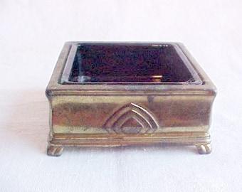 Vintage Jennings Brothers Glass Lined Box - Art Deco Desk Accessory - Bronze Finish on Metal - Original Teal Green Glass Insert - JB 3471 -