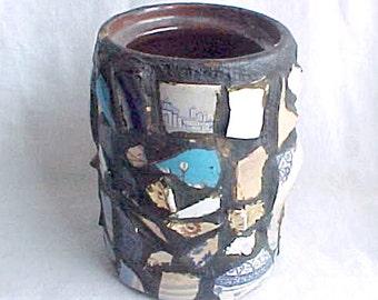 Antique Mosaic Memory Jug or Crock - Vintage Victorian Folk Art Vase - Rustic Americana - Broken China & Glass - Primitive Decorative Arts