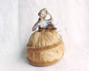 Vintage Half Doll Pin Cushion - Porcelain Marie Antoinette Madam Pompadour - Blue Dress, Pink Rose in Hair - Hand Made Silk Covered Skirt