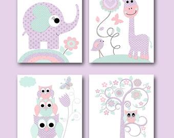 Mint Pink Lavender Canvas Print Baby Girl Nursery Art for Children Art Kid Wall Art Elephant Wall Art Giraffe Wall Art Owl Wall Art set of 4
