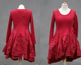 Red tunic dress, Size L, Upcycled, recycled woman, long sleeved, hippie, short dress, eco friendly, boyfriend shirt, OOAK