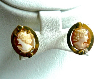 Gold Filled Earrings - Antique Cameo Earrings -Screw Backs - Shell Cameo -Sterling with Cameos - Hand Carved - Spanish Cameo Earrings - Oval