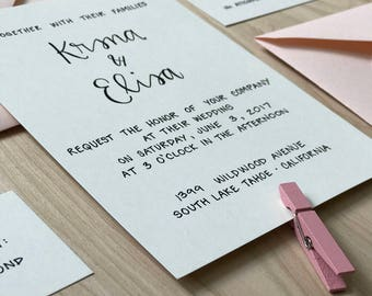 Simple Wedding Invitation / Calligraphy Wedding Invitation Set / Classic Wedding Invitation Suite / Modern Wedding Invite