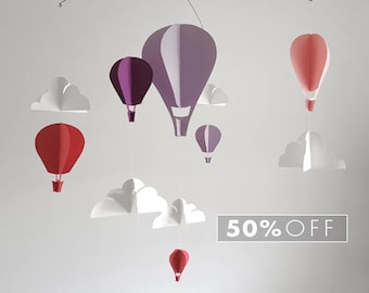 SALE Purple and Pink Hot Air Balloon Paper Mobile (S)